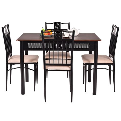 5 Piece Dining Set Wood Metal Table And 4 Chairs Kitchen Dining Table Set Steel