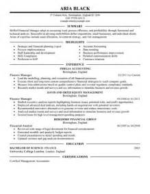 Resume Summary Exle Manager Best Summary And Highlights Finance Manager Resume Expozzer