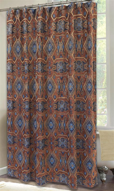 western star curtains western shower curtains turquoise mesa shower curtain