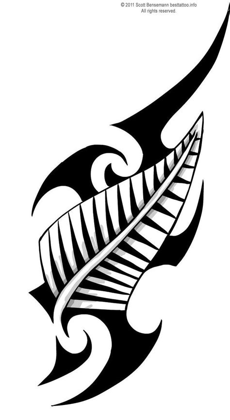 maori tribal design with new zealand silver fern tattoo