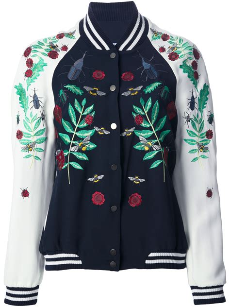 design an embroidered jacket fa 231 onnable embroidered bomber jacket in blue lyst