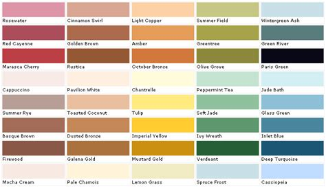 paint color chart creative home designer