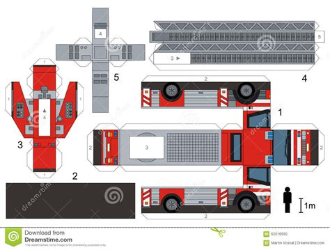 truck paper paper model of a fire truck stock vector image 62016550