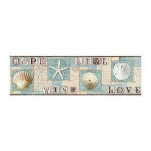 borders bathroom: starfish and seashells wallpaper border aqua beach nautical decor