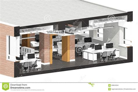 section office cross section of the office space stock illustration