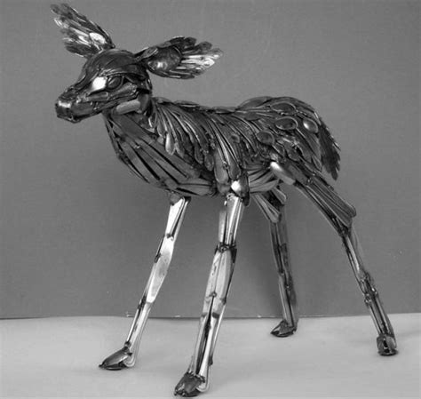 out of silverware awesome metal animal sculptures made out of silverware