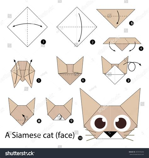 Origami Cat How To - step by step how make stock vector 407070250