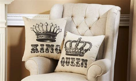 new king crowns decorative throw pillow set his