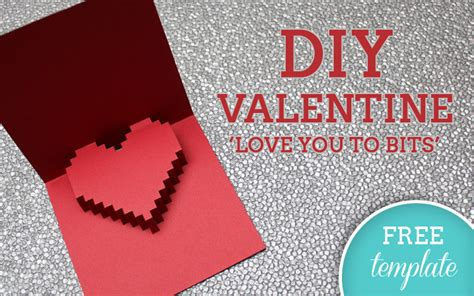 3d heart valentine s card free template