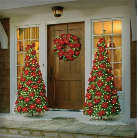 lighted outdoor poinsettia decor poinsettias pinterest