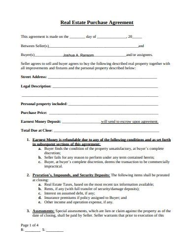real estate buy sell agreement templates