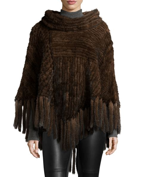 brown pattern poncho belle fare knitted mink fur fringe poncho in brown lyst