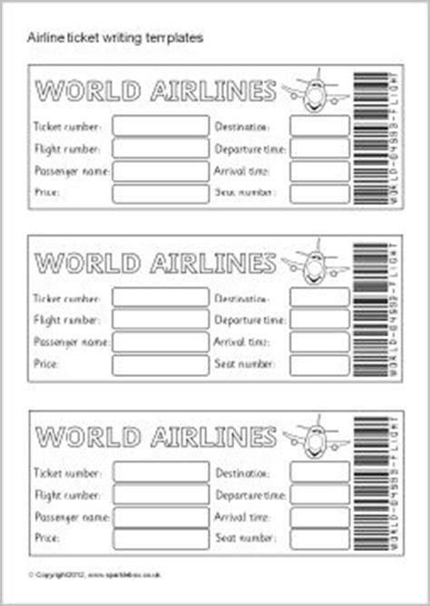 airline ticket boarding pass writing templates sb7770 sparklebox holidays around the world