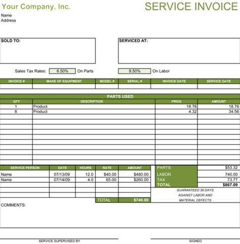5 Service Invoice Templates For Word And Excel 174 Free Service Invoice Template
