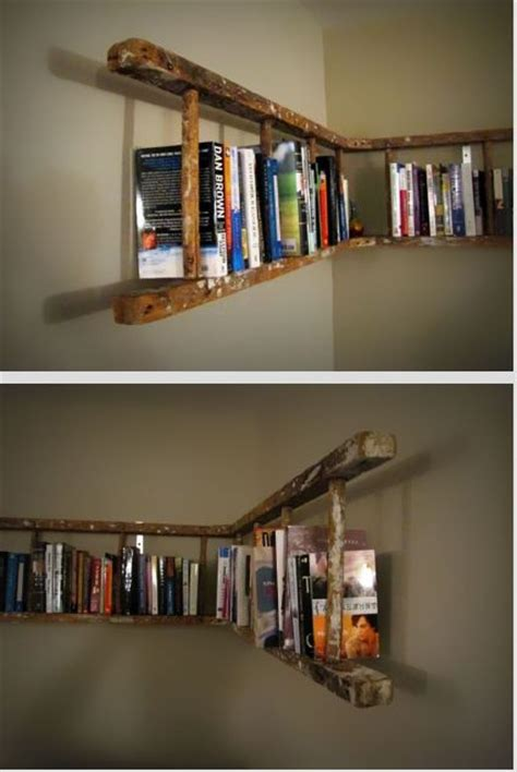 ladder bookshelves do it yourself ideas
