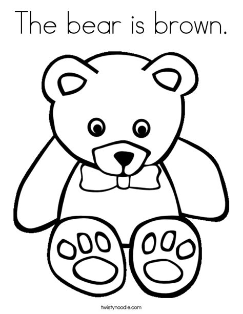 the bear is brown coloring page twisty noodle