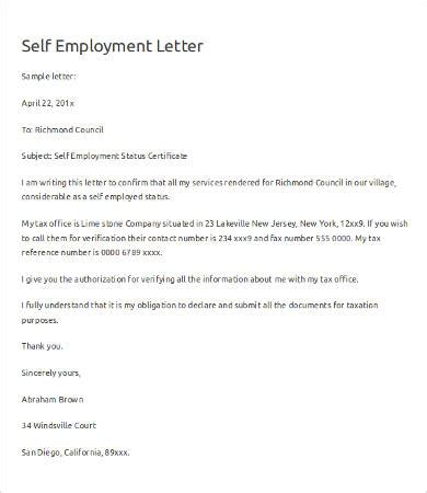 image gallery self employment letter