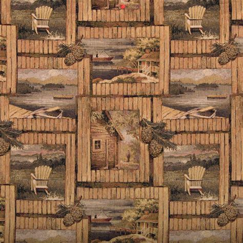 rustic cabin outdoors themed tapestry upholstery fabric by