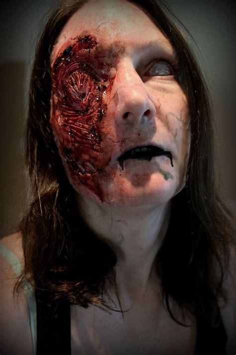 torn face prosthetic  zombie  rhonda caustonreel