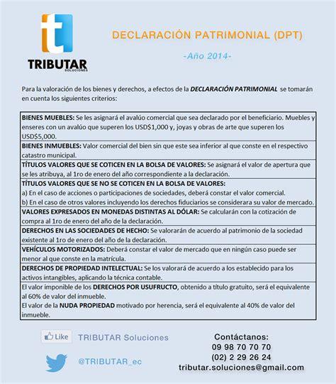 declaracion patrimonial ecuador 2014 valoraci 243 n de bienes y derechos para la declaraci 211 n