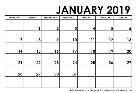 january  calendar monday start monday start