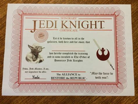 wars jedi certificate template free 17 best images about birthday decoration ideas
