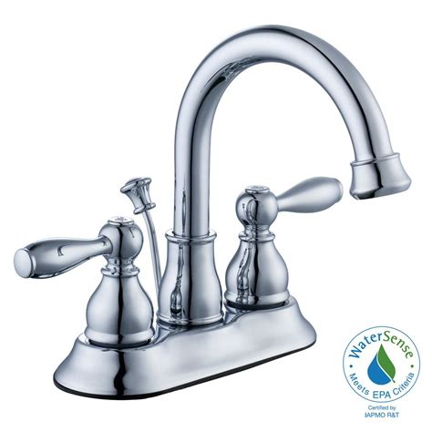 glacier bay bathroom hot faucet replacement handle in chrome a66e498hcp the home depot glacier bay mandouri 4 in centerset 2 handle high arc