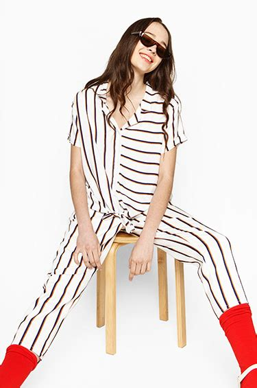 Arsy Jumpsuit woven shirt navy brown striped arsy cottonink