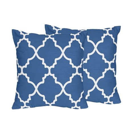 Blue And White Decorative Pillows Blue And White Trellis Decorative Accent Throw Pillows