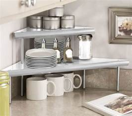 marimac 2 tier kitchen counter corner shelf in satin