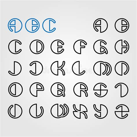 printable round letters set of round alphabet letters stock vector image 58039742