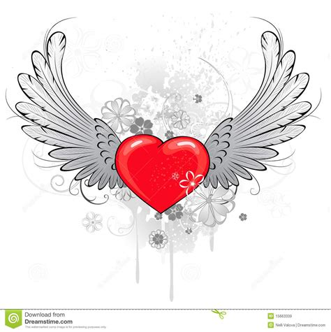 tattoo cuore con le ali cuore rosso con le ali illustrazione vettoriale immagine