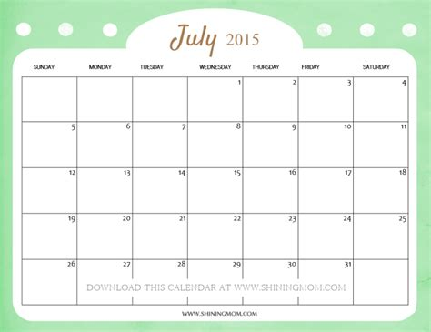 printable monthly calendar july 2015 cute calendars for july 2015 free