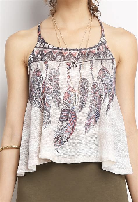 Feather Pattern Top feather pattern cami crop top shop tops at papaya clothing