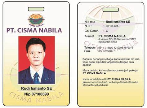 design id card karyawan contoh id card cetak dari bahan pvc webbisnis com