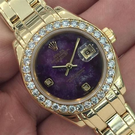 Rolex Villenia Gold Coulor Fashion Diskon rolex yellow gold quot sugilite quot purple automatic wristwatch at 1stdibs