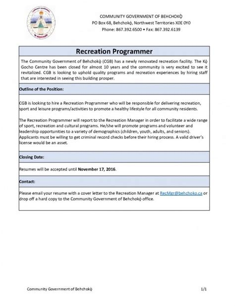 Recreation Programmer Sle Resume by Employment Opportunity Recreation Programmer Tlicho