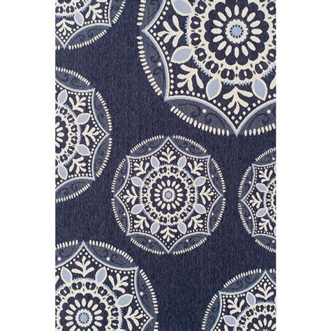Hton Bay Coastal Medallion Blue 5 Ft 3 In X 7 Ft 5 Hton Bay Outdoor Rugs