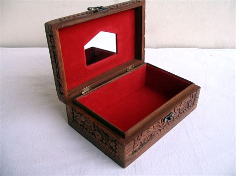 Handcrafted Jewelry Box - vintage wooden handcrafted carved jewelry box rosewood