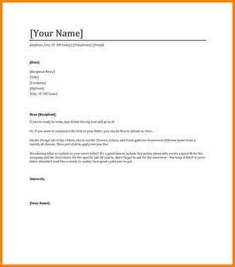 Basic Cover Letter Template Word 9 Professional Letter Format Word Quote Templates