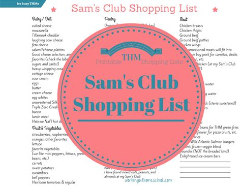 Sam S Club Shopping List For Trim Healthy Mama Sam S Club Shopping List Template
