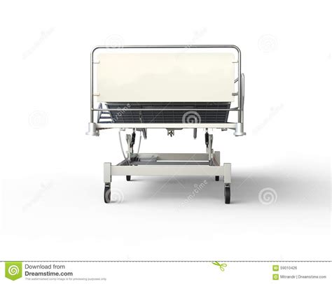 cama hospital website hospital bed with blue bedding front view stock