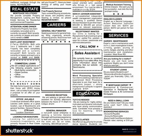 8 Newspaper Sle Sletemplatess Sletemplatess Newspaper Advertisement Template