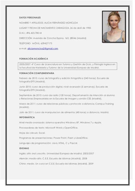 Modelo Curriculum Vitae Para Turismo Curriculum Vitae