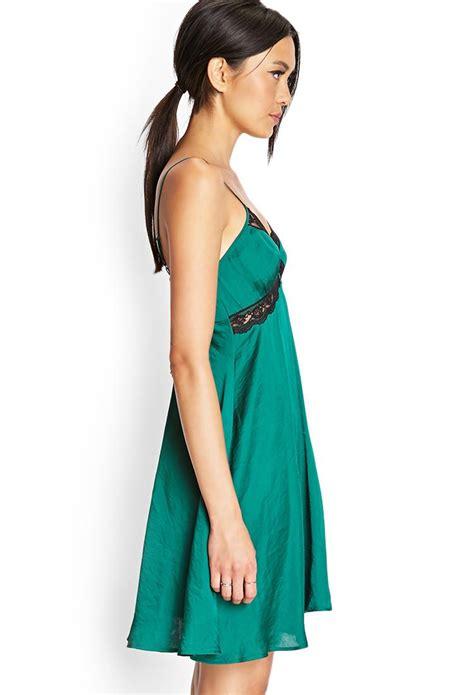 Dress Wanita By Forever21 lyst forever 21 sleek lace trimmed slip dress in green