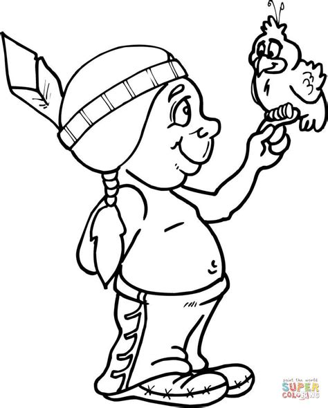 baby navajo holding a bird coloring page free printable