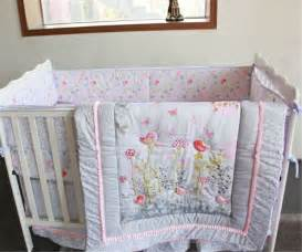 Baby Crib Cot Flowers Birds Baby Crib Cot Bedding Quilt Bumper Sheet Dust Ruffle Set Of 4pcs Ebay