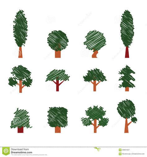 Set Of Trees Hand Drawing Style Collection Of Design Elements Stock Vector Image 58841007 Tree Collection Of Design Elements Stock Vector Illustration Of Icon Botany 32428346