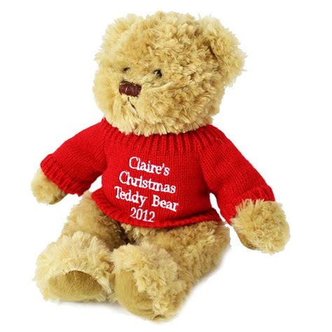 personalised christmas teddy bear by hope and willow