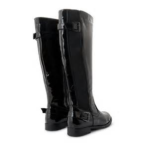 new womens wide calf fit black flat stretch knee